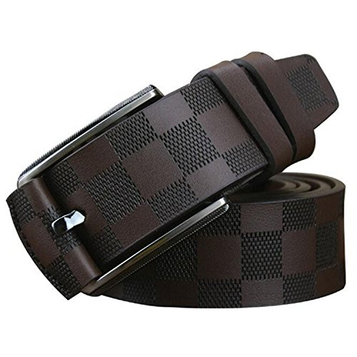 Also Easy Style Men Luxury Brand Name Designer Plaid Pattern Genuine Leather Wide Belts New NEW Fashion Man Accessories Brown - Luxury Brandname