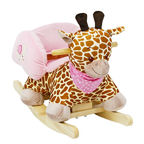 - Peach Tree Kids Rocking Animal Ride On Rocking Plush Giraffe Theme Chair with Sound
