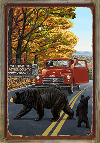 Northwest Art Mall Potter County Pennsylvania Truck with Sign Rustic Metal Print on Reclaimed Barn Wood by Paul A. Lanquist (24
