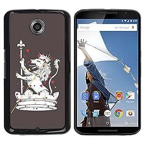 LASTONE PHONE CASE / Diseño de Delgado Duro PC / Aluminio Caso Carcasa Funda para Motorola NEXUS 6 / X / Moto X Pro / The Majestic Royal Lion
