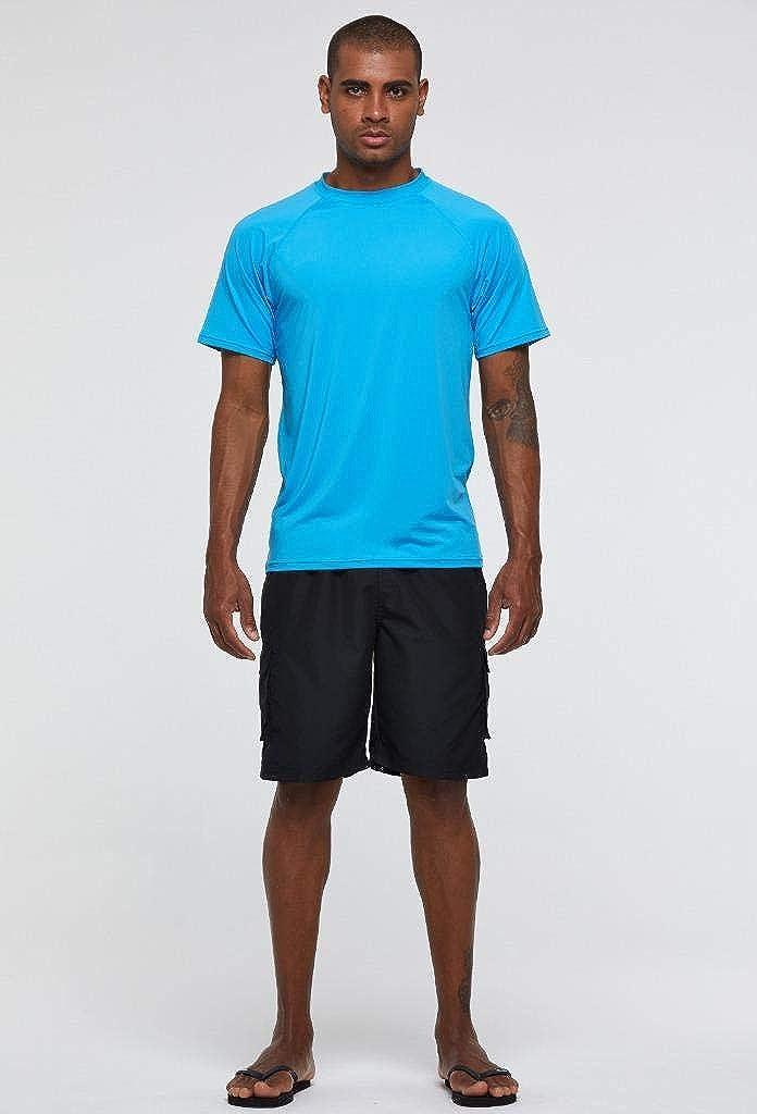 Arcweg Rashguard Herren Kurzarm Shirt UV Schutz T-Shirt Elastisch Schnelltrocknend Sun Shirt UPF 50 Tops Funktionsshirt Fitness Shirt Rash Vest zum Surf Laufen Angeln Wandern M-3XL Himmelblau EU M