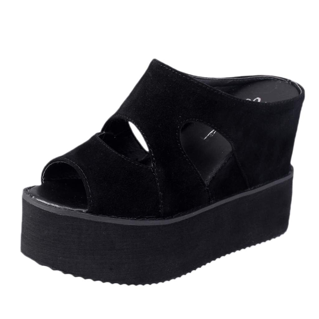 Orangeskycn Summer Women Wedge Sandals Shoes Casual Muffin Fish Mouth Non-Slip Slippers Hollow Thick Bottom Sandals Black