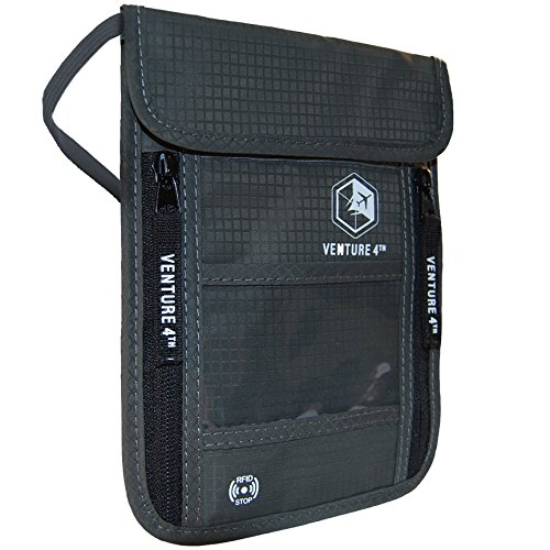 Venture 4th Travel Neck Pouch With RFID Blocking - Travel Wallet Passport Holder (Grey)
