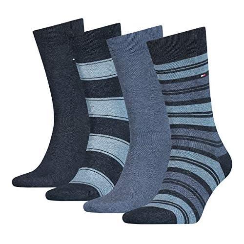 chollos oferta descuentos barato Tommy Hilfiger Th Men Sock 4p Stripe Tin Giftbox calcetines pantalones vaqueros 39 42 Pack de 4 para Hombre