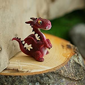 Top Collection Miniature Fairy Garden And Terrarium Mini Dragon Statue Red