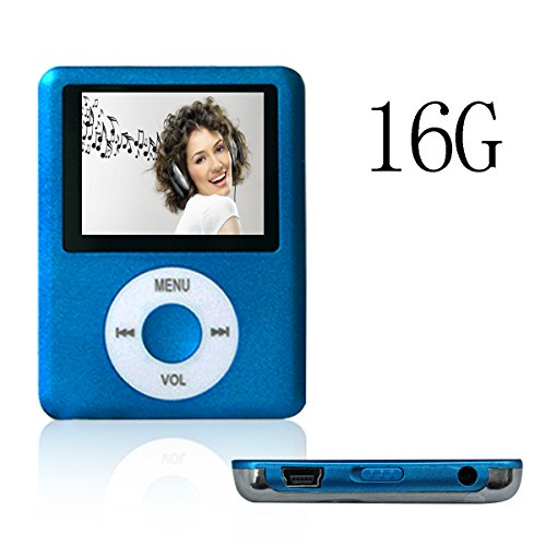 ACE DEAL MINI 16G Memory Blue Color Slim Classic Digital LCD MP3 Player / MP4 Player, MP3 Music Player