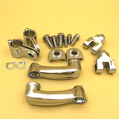 Front Engine Guard Frame Tube Yamaha V-STAR Roadstar Suzuki Boulevard HK Group Motorcycle Chrome 360 Degree Adjustable Highway Peg Mounting Kit For any Bike Equipped with 1-1//2 inch 1.5