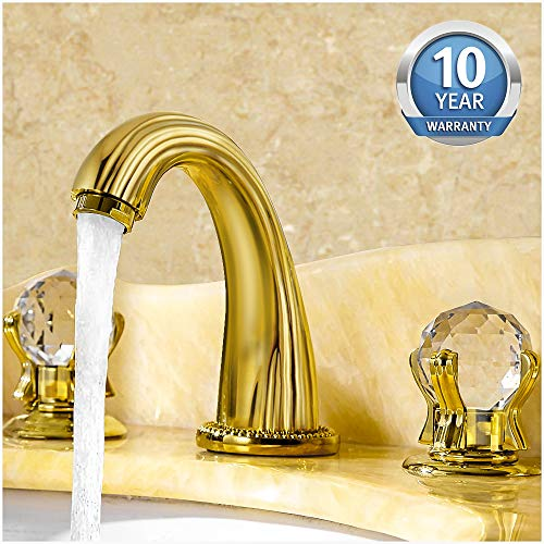 Aposhion Luxury Gold Finish Bathroom Faucet with Crystal Knobs 3 Holes Bath Sink Waterfall Basin Mixer Tap