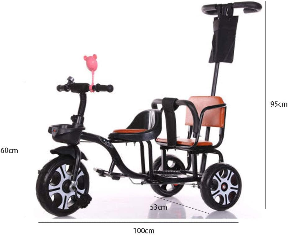 High Carbon Steel Double Hand Pedicab Bike Two Seater Solid Wheel Children Three-Wheeler,White JHGK Childrens Tricycle Hand Push