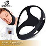 Basuwell (2018) Anti Snoring Chin Strap + Nose Vents Stop Snoring Solution Improved Version Adjustable Reduce Snore Devices Natural Sleep - Black