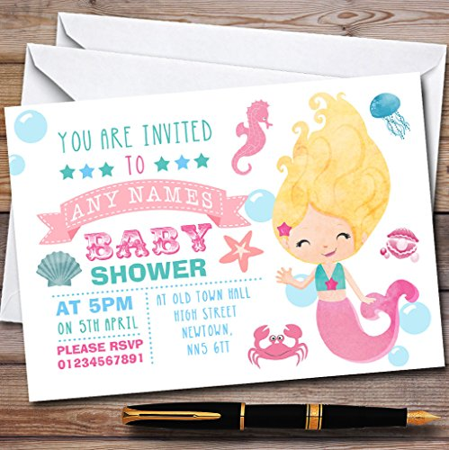 Cute Little Mermaid Themed Invitations Baby Shower Invitations
