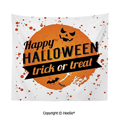 Durable Washable and Reusable tapestry wall hanging carpet 59x79in,Happy Halloween Trick or Treat Watercolor Stains Drops Pumpkin Face Bats,Orange Black White Comfy and No Strange Odor home decor -