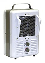 TPI Corp. 10 x 9-1/2 x 16 Radiant and Fan Forced Electric Space Heater, White/Gray, 120VAC