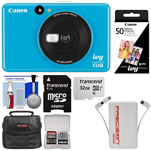 Canon Ivy Cliq Instant Digital Camera Printer (Seaside Blue) with 32GB Card + 50 Color Prints + Case + Power Bank Charger + Kit