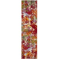 Safavieh Water Color Collection WTC695D Orange and Green Runner, 22 x 8