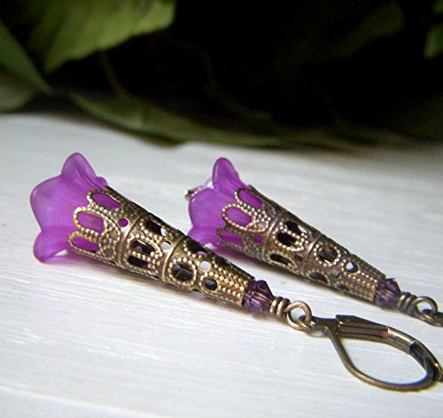 Pierced Lucite Earrings (Fuchsia Purple Lucite Floral Earrings, Vintage Inspired Victorian Dangle, Romantic Filigree Trumpet Flower)