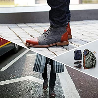La Milano Mens Winter Dress Boots Cap Toe Lace up Genuine Leather Oxford Comfortable Casual Wool Ankle Jack Boots for Men   Chukka