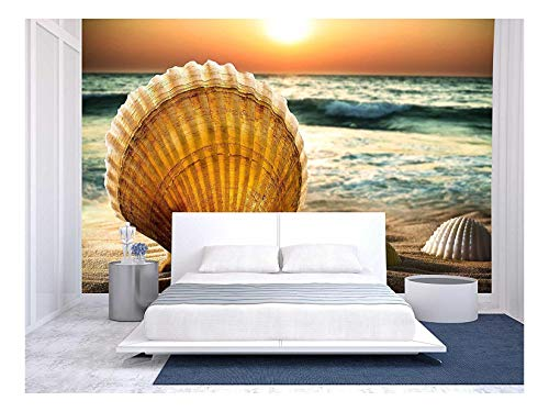 - wall26 - Sea Shells in The Sand, a Sunset. - Removable Wall Mural | Self-Adhesive Large Wallpaper - 66x96 inches