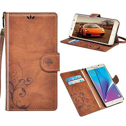 Mosheng Galaxy Note 5 Funda de Cuero, Funda de Cuero Floral Retro de la Caja de la Carpeta for Note 5