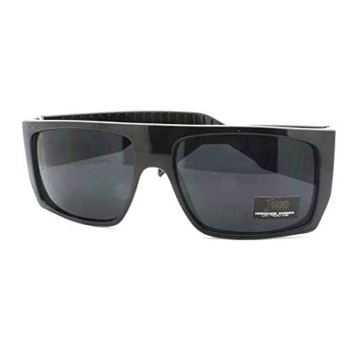 31e51358829 Image Unavailable. Image not available for. Color  Locs Sunglasses Mens  Flat Top Square Gangster Mob Fashion Shades Black