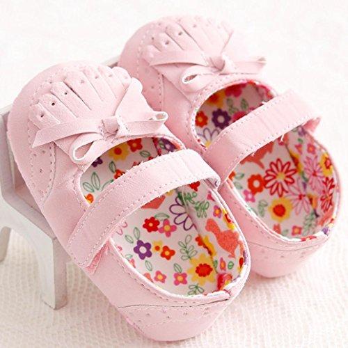 Tefamore zapatos primeros pasos bebes de antideslizante de sole suave de moda invierno de calentar Rosa