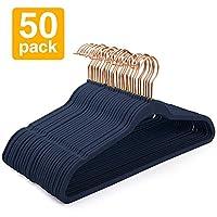 Pretigo Velvet Hangers Non-Slip Velvet Hanger 50 Pack-Clothes Hangers Velvet Space Saving Clothes Hangers Non Slip Hangers for Coats, Suit