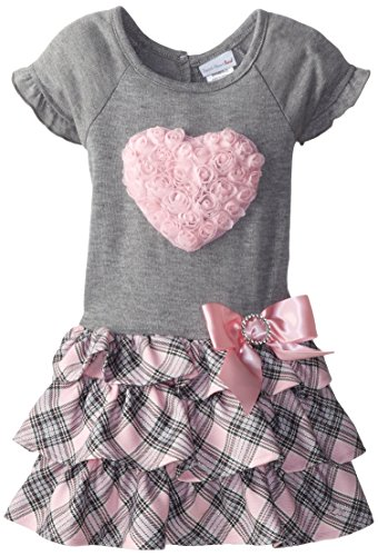 Toddler Girls Tiered Plaid Valentine Dress with Rosette Heart