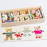 Cartoon Rabbit Change Clothes Wooden Toy Puzzles friendGG Educational Dress Changing Jigsaw toys for children girl Preschool Development Game Toys Tool Bauble Knick-knack Gift For 1-8 Years Old Kids (approx. 31*13*4.5cm, Multicolor ~A)