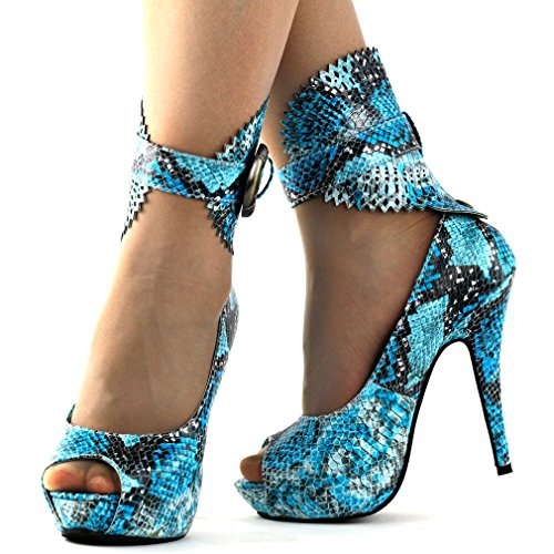 Floral Show Pumps Platform Story Animal Multicoloured Gladiator Snake Blue Pattern LF30402 xwwq0