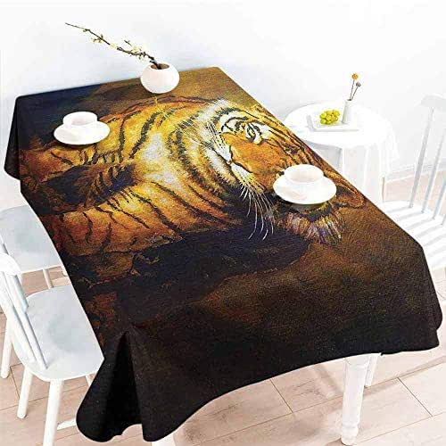 Creative Rectangle Tablecloth Safari Decor Collection Tiger on a Leash and Woman Walking Hand Dark Colors Oil Painting Effect Stripes Image Yellow Brown Buffet,Parties,Holiday Dinner,Picnic 59x71