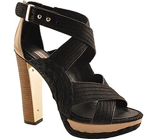BCBGMAXAZRIA BCBG Max Azria Fritz Women Open Toe Canvas Black, Black, Size 10.0 (Bcbg Platforms)
