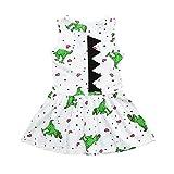 Sacow Casual Dress, Toddler Baby Girls Dress Cartoon Dinosaur Striped Print 3D Dorsal Fin Outfits...