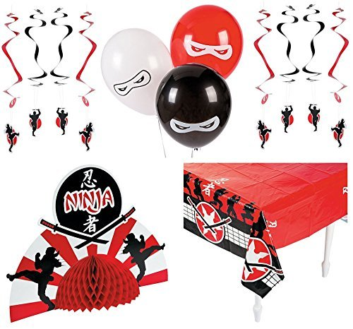 Ninja Warrior Birthday Party Decorations Bundle Pack 1 Tablecloth 1 Centerpiece 12 Hanging Swirls 12 Balloons