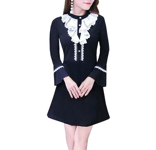 YueLian Mini Vestito a Maniche Lunghe Vita Sottile