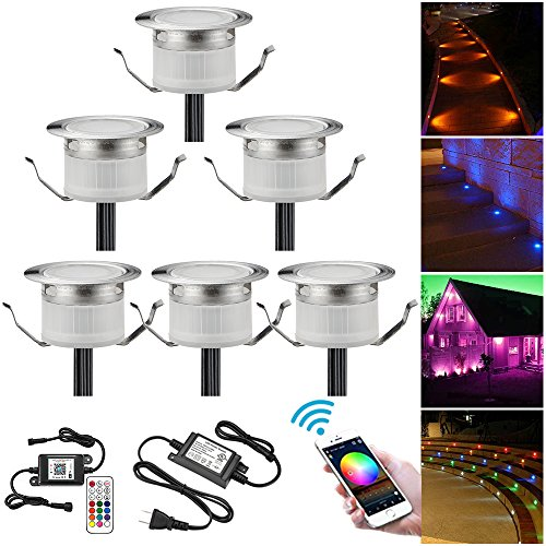 WiFi LED Deck Lighting Kits, FVTLED 6pcs Φ1.22″ Low Voltage LED Step Light Waterproof Decor Recessed Lamps Compatible with Alexa Google Home IFTTT Smartphone Controlled Color Changing Lights