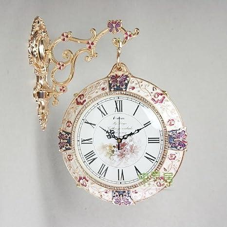 CC Retro Metal doble cara reloj personalidad decorativo reloj de pared silenciado relojes para salón o dormitorio, 12 pulgadas: Amazon.es: Hogar