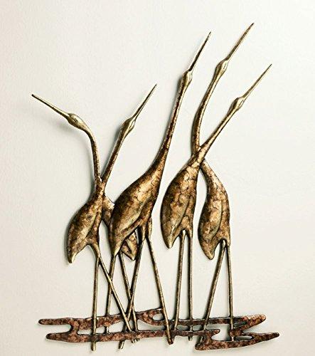 CHSGJY Crane Quintet Wall Art Sculpture Metal Heron Bird Gold and Bronze Coastal ()