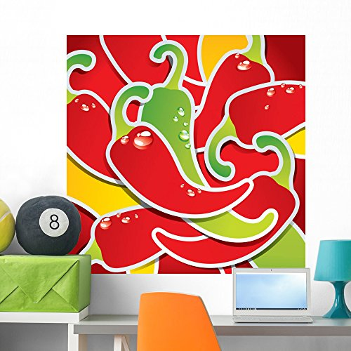 Wallmonkeys Background from Colorful Chili Peppers with The Drops of Water Wall Decal Peel and Stick Graphic WM308231 (36 in H x 36 in W)