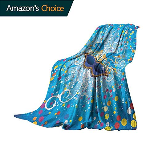 Mardi Gras Security Blanket,Blue Backdrop with Colorful Dots Spots and Carnival Mask with Stylized Swirls Weighted Blanket for Adults Kids,Better Deeper Sleep,35