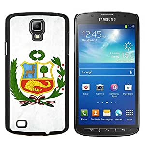 KLONGSHOP // Cubierta de piel con cierre a presión Shell trasero duro de goma Protección Caso - Perú Bandera - Samsung Galaxy S4 Active i9295 //