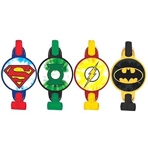 """justice+league Products : Adventure Filled Justice League Birthday Party Blowouts Favours, Multi Colored, Paper, 5"""", 8-Piece"""