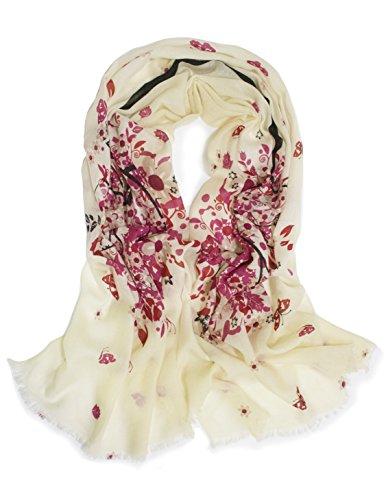 Women's 100% Merino Wool Pashmina Scarf - Spring Butterfly Blossom (Merino Scarf)