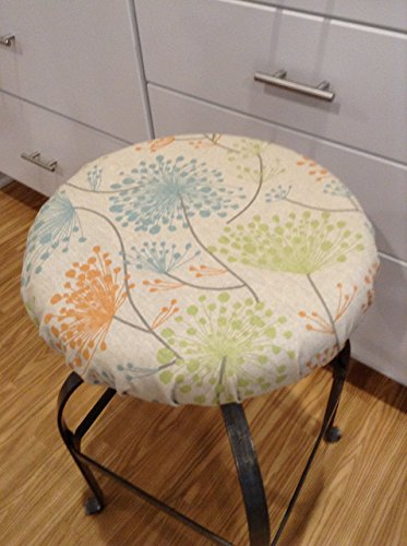 "Cushions Oatmeal Seat (Round bar stool cover for seats 12""- 20"" diameter. RUSTIC IRISH DAISY FLORAL PRINTS natural linen with blue, green, orange, grey and yellow colors. Stool slipcover with or without foam insert.)"