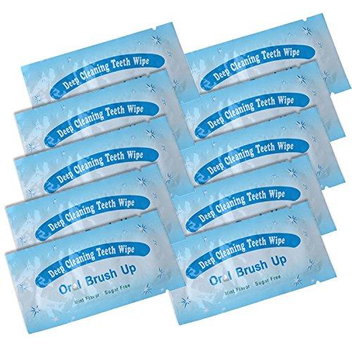100 Pack Finger Teeth Wipes Oral Brush Ups - No-Need-Water Deep Cleaning Teeth Wipe, Pre and Post Teeth Whitening Dental Care (Dark Blue) By Miss Flora by Miss Flora