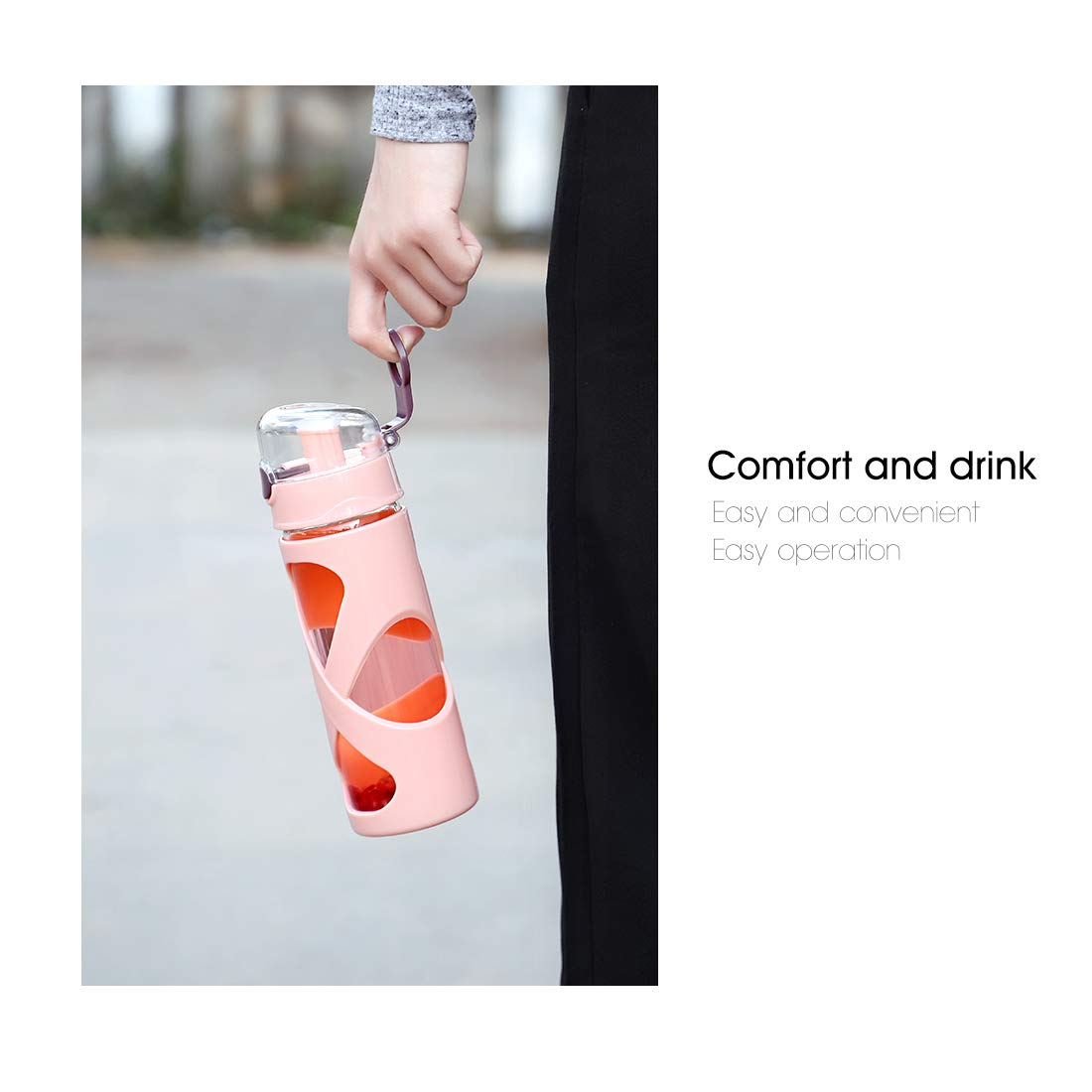 Sport Gym Leak Proof Sport Water Bottle with Flip Top 500ml Travel Water Container for School Kids Girls Boys BEYONDA Glass Water Bottle 16oz Ideal for Travel
