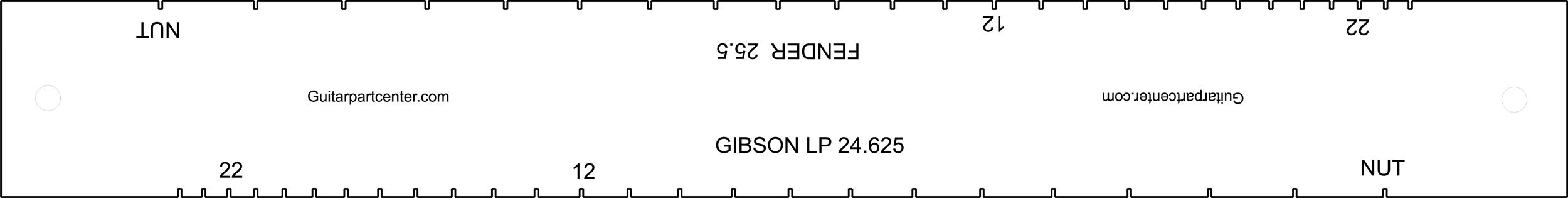 Dual Scal Fingerboard Slotting Template - 25.5'' & 24.625'' by GPC