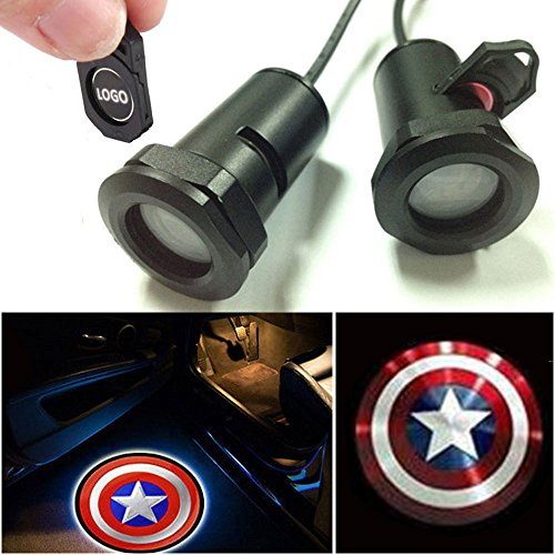 CHAMPLED for Captain America Car LED Laser Projector Illuminated Emblem Under Door Step Courtesy Light Lighting Symbol Sign Badge Glow Replacement Logo Film Auto Acessories