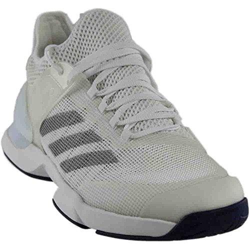 Court Shoes Indoor Adidas (adidas Originals Men's Adizero Ubersonic 2 Tennis Shoes, White/Metallic Silver/Mystery Blue, (7.5 M US))