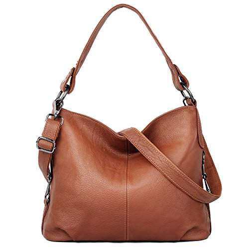 YALUXE Women's Stylish Genuine Leather Tote Travel Shoulder Bag Handle bag Bags for Women brown by YALUXE