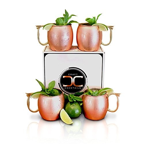 Craft cocktails handmade copper moscow mule mugs with for Craft cocktail gift set